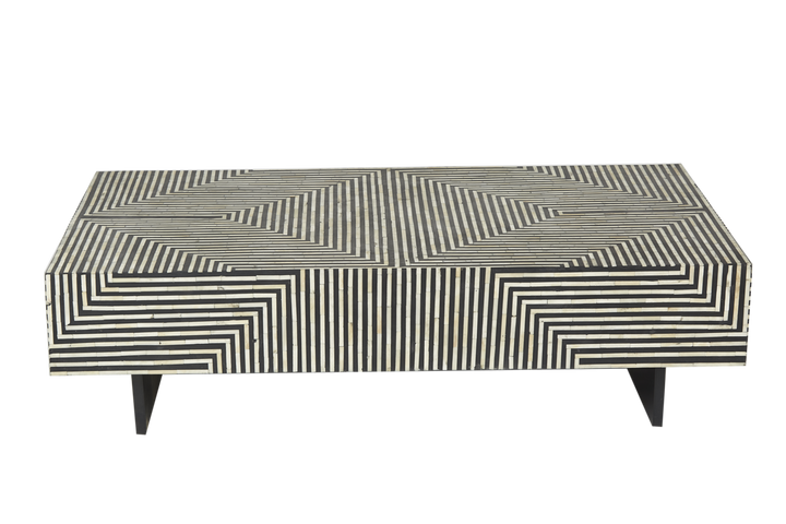 Zion Bone Inlay Coffee Table Bold Geometric Black and White