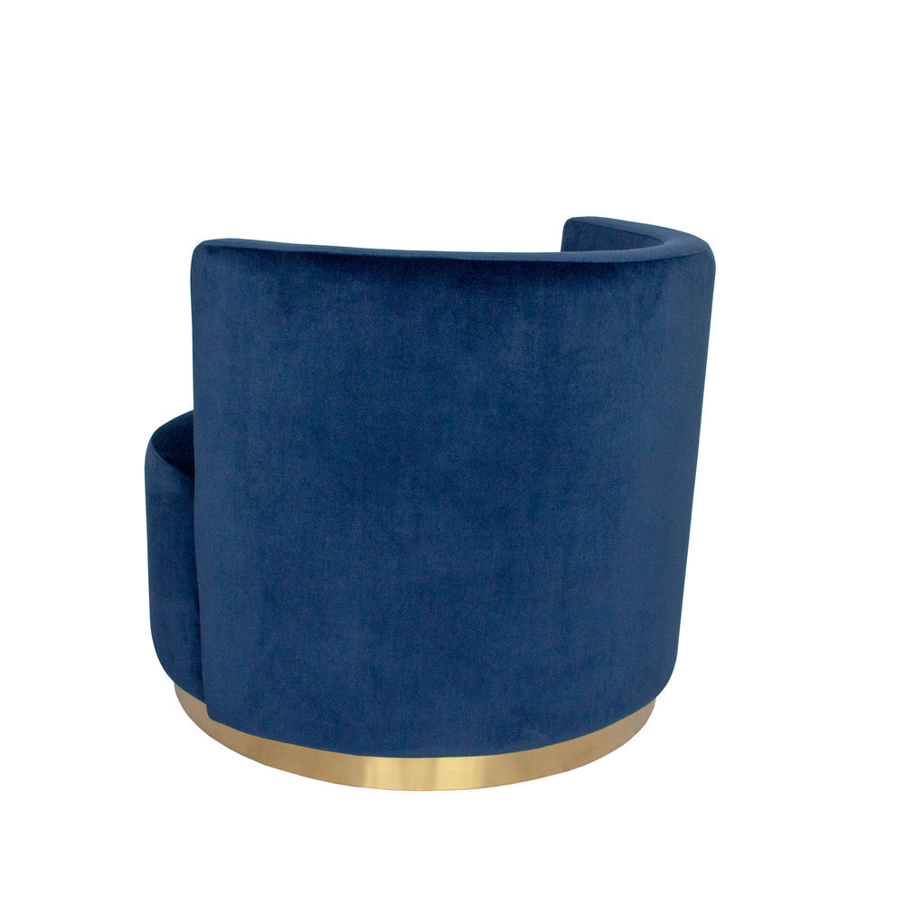 Roma Love Seat Navy with Gold Base