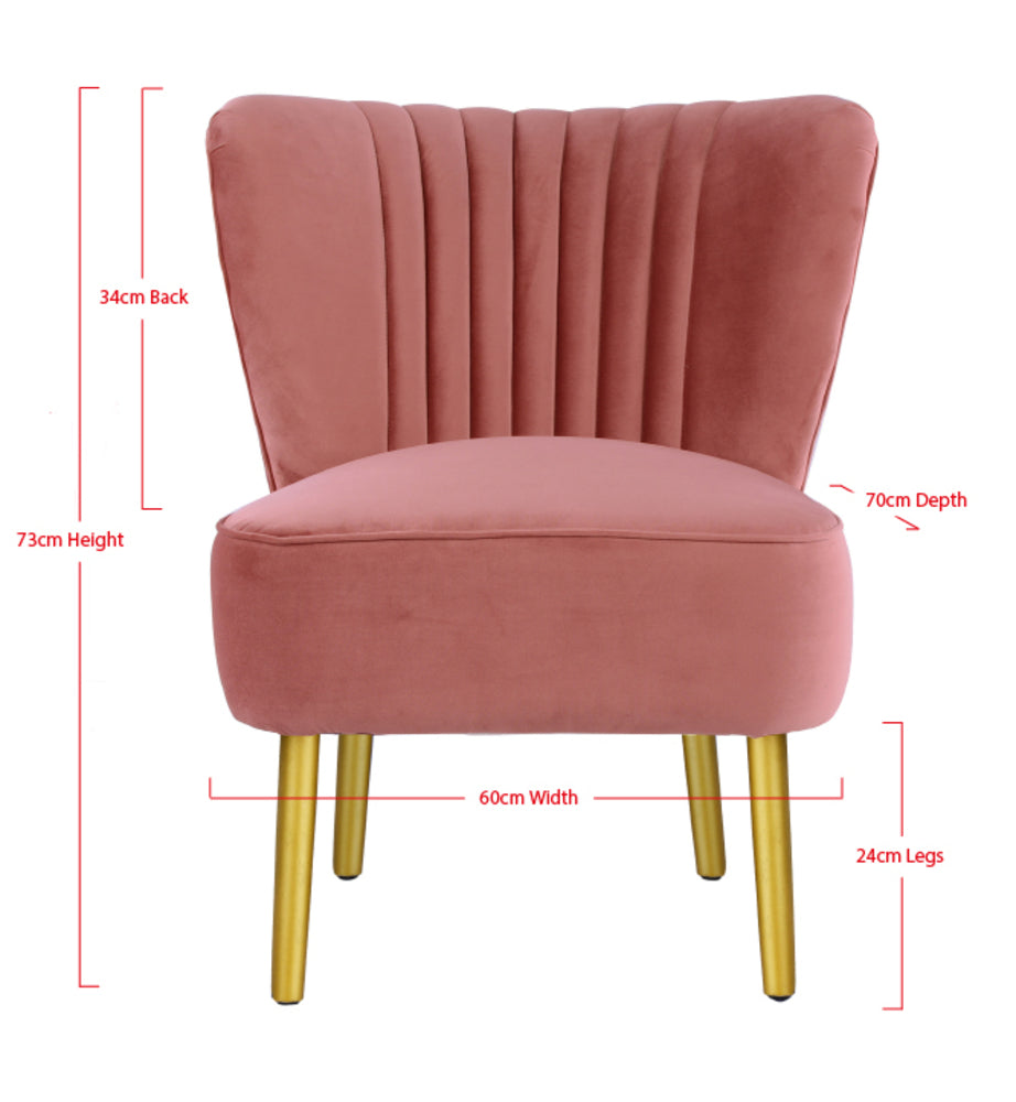 Slipper Chair Pink with Gold Legs