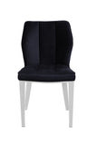 Pair of Geneve Dining Chairs Silver with Black Velvet