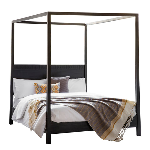 Strand 4 Poster Bed Black Oak King