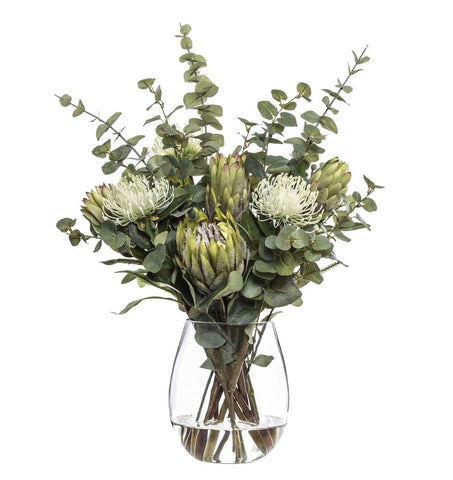 Pin Cushion Protea Mix in Claire Vase Green
