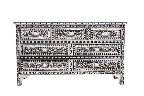 Kajal Florentine Bone Inlay Coffee Table Black