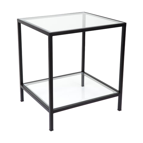 Martini Square Clear Glass Side Table Black