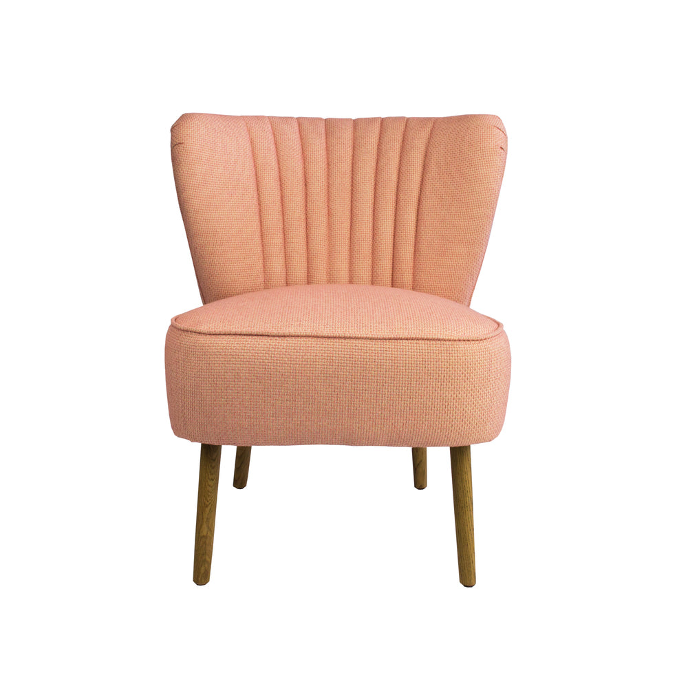 Slipper Chair Coral Linen Oak Legs