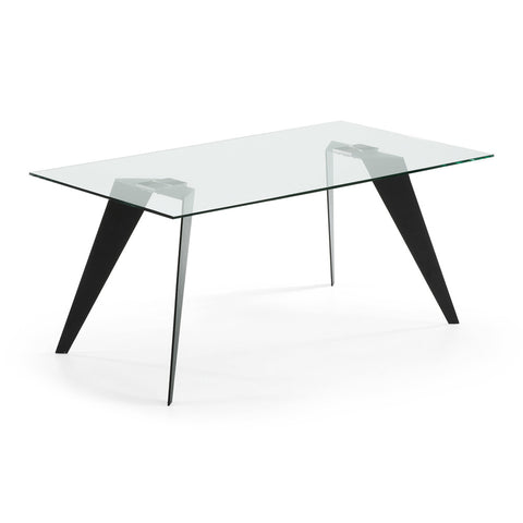 Lanni Dining Table White with Clear Glass