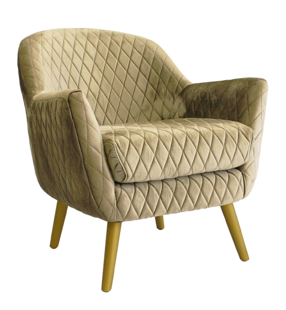 Club Chair Vintage Gold with Gold Legs