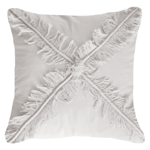 Cross Fringe White Lounge Cushion