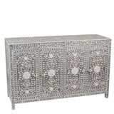 Zaylee Mother of Pearl Four Door Sideboard Floral Taupe and Grey