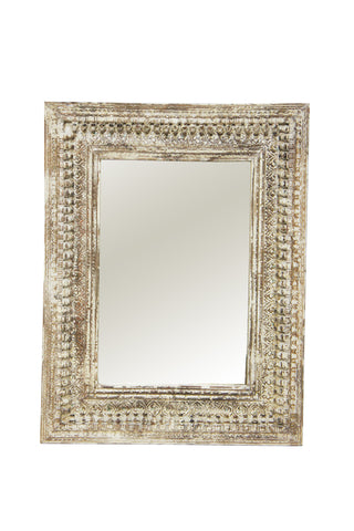 Maha Mirror Distressed White