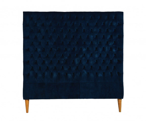 Lotus Velvet Bedhead Navy King Single
