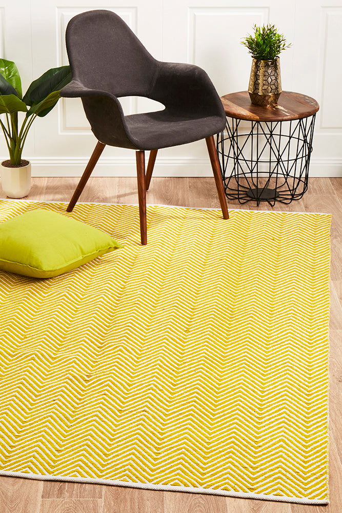 Villa Modern Herringbone Rug Yellow and White