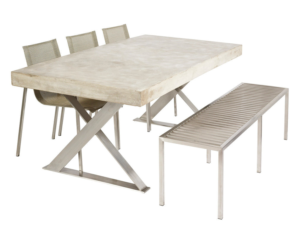 Peninsula Dining Table with Stainless Steel Base