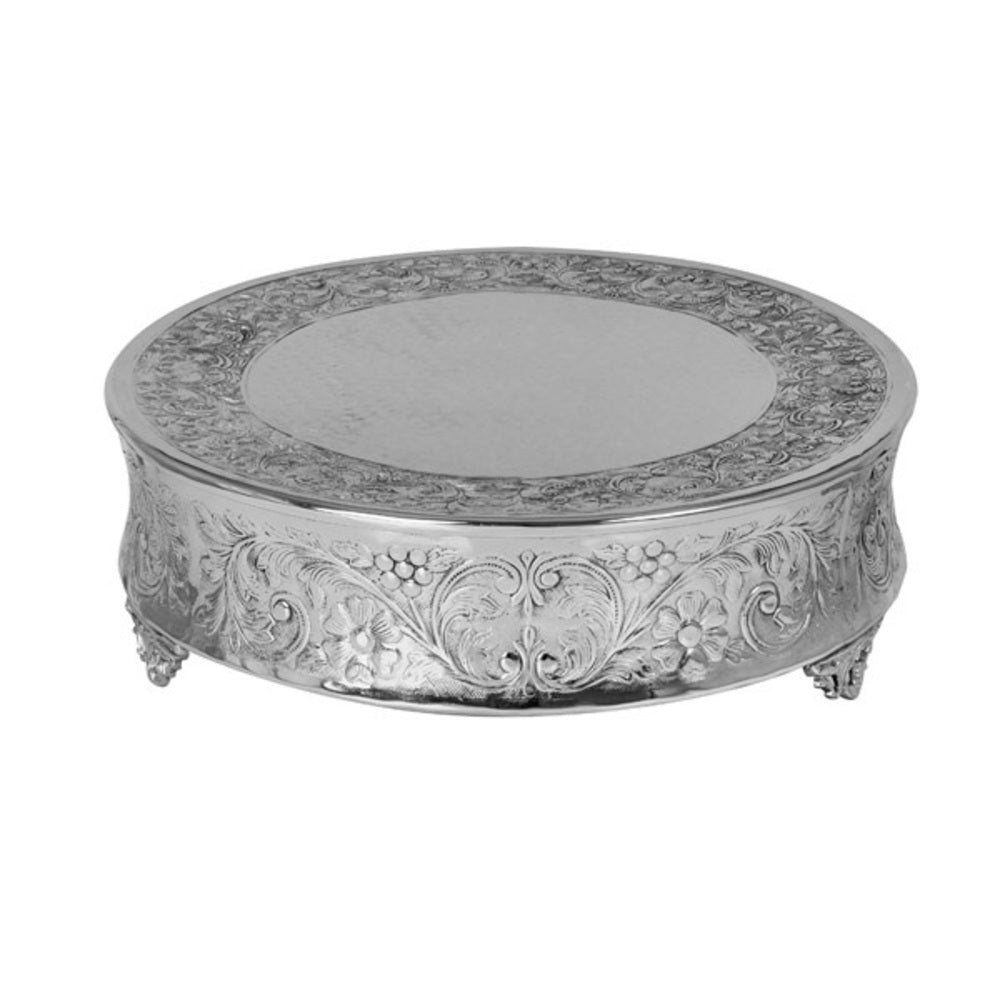 Embossed Traditional Cake Stand Nickel Round