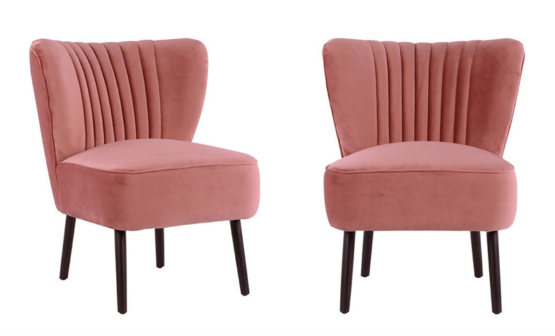 Slipper Chair Pink with Black Legs