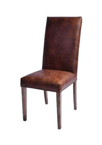 Lewis High Back Leather Dining Chair Pair