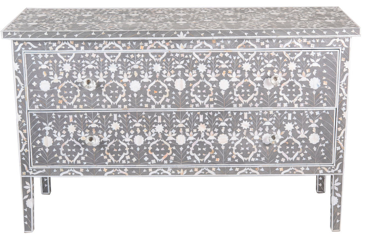 Octavia Mother of Pearl Inlay Long Two Drawer Chest Moghul Flower Taupe and Grey