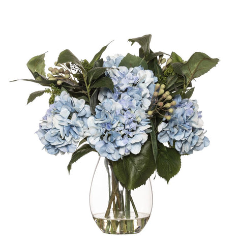 Hydrangea Eucy Mix in Claire Vase Blue 46cmH