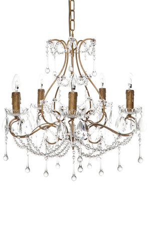 Houston Chandelier 5 Arm Antique Gold