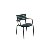 Clips Dining Chair Pine Green with Bamboo Armrests