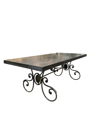 Refrectory Wrought Iron Outdoor Dining Table with GRC Top