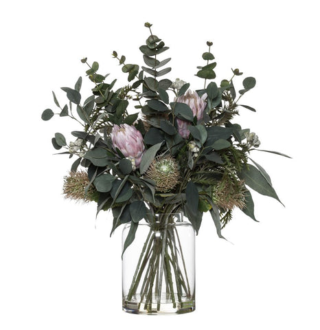 Protea Eucy Mix in Pail Vase White 71cmH