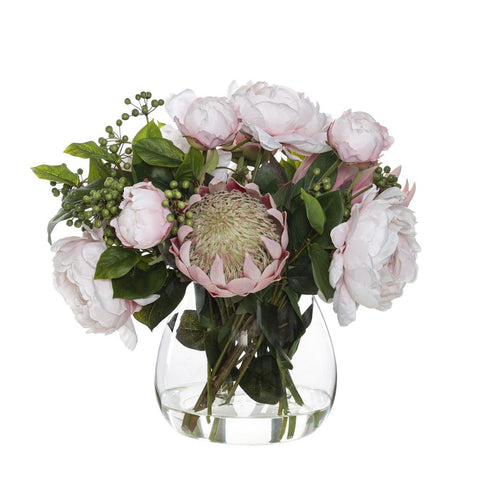 King Protea Peony Mix in Garden Vase Pink