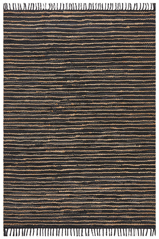 Bondi Leather and Jute Rug Black and Natural