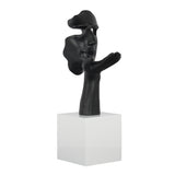 Face and Palm Sculpture Matt Black