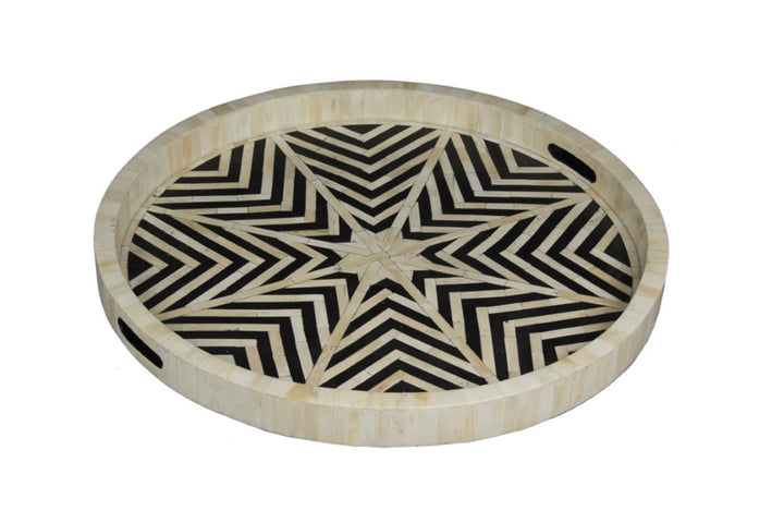 Star Bone Inlay Tray Black and White