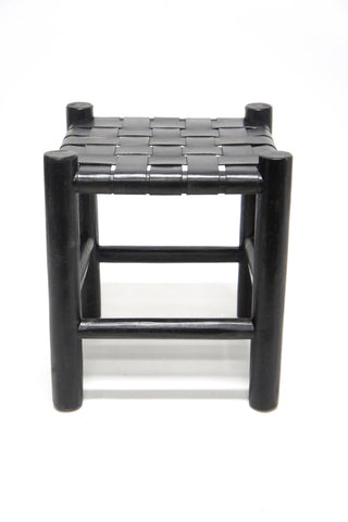 Meghan Leather Stool Black