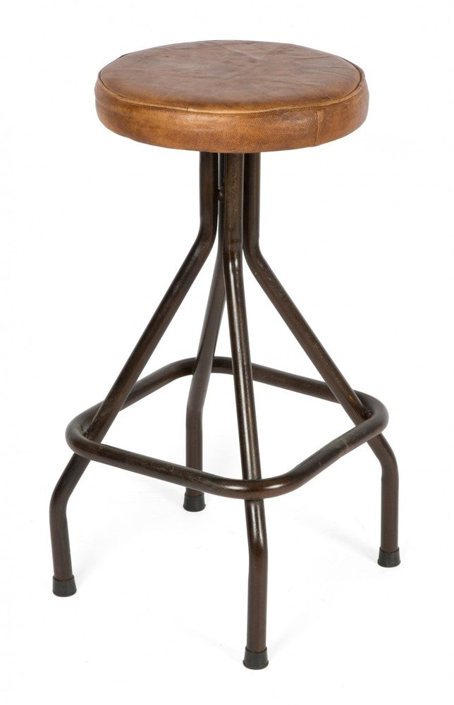 Loft Iron and Leather Bar Stool