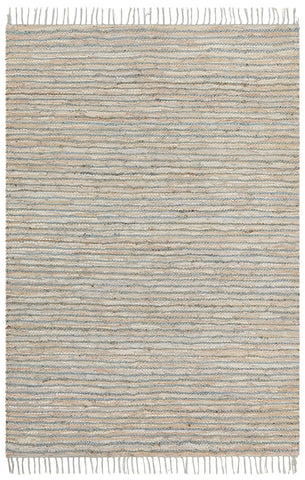 Bondi Leather and Jute Rug Grey Blue