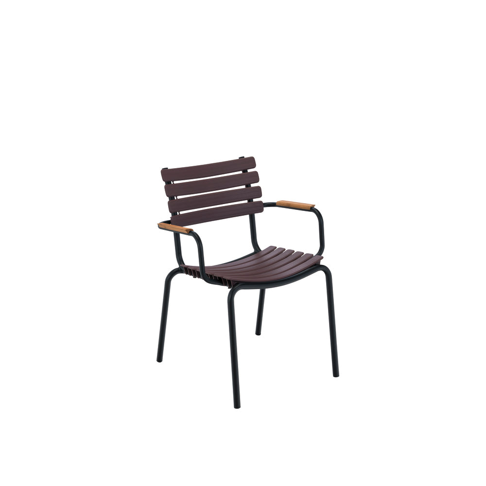 Clips Dining Chair Plum with Bamboo Armrests