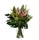 Tropical Heliconia Mix in Pail Vase Green