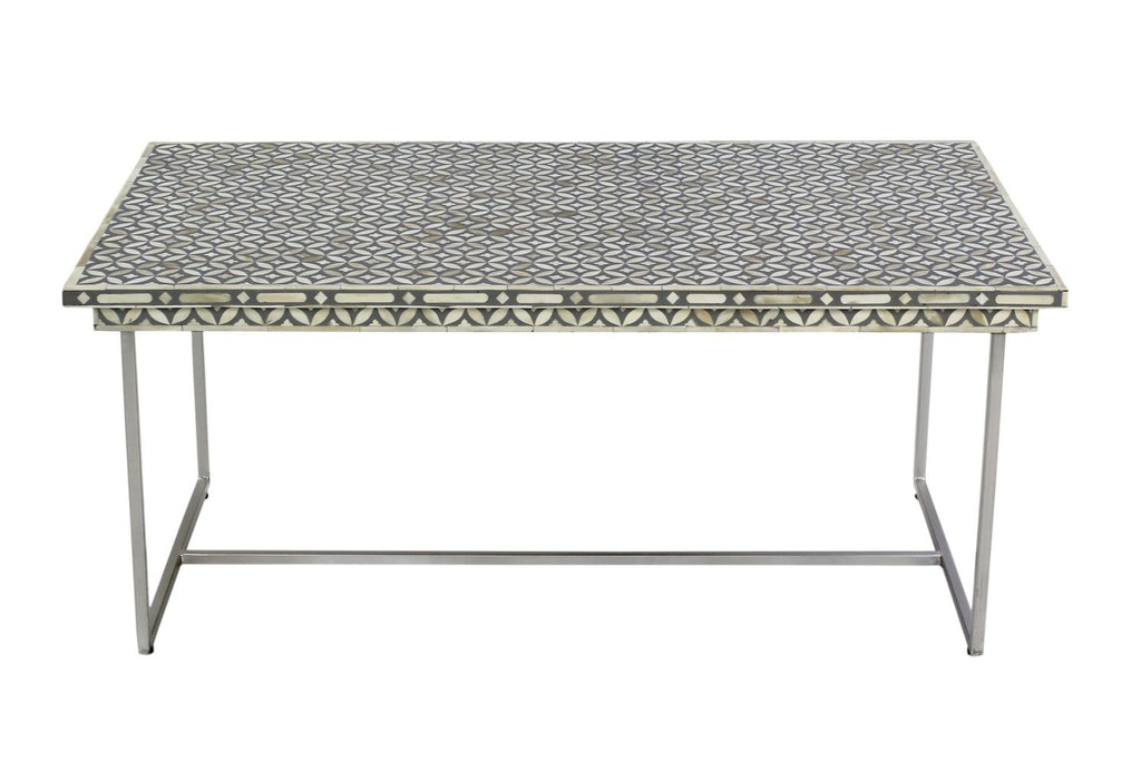 Aditi Geo Bone Inlay Coffee Table Grey