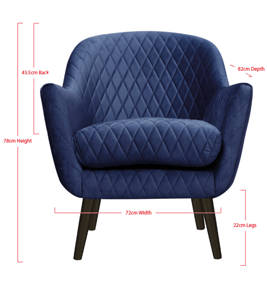 Club Chair French Navy with Black Legs