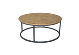 Round Iron and Wood Coffee Table