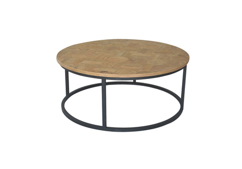 Lansing Round Dining Table Taupe with Travertine Top