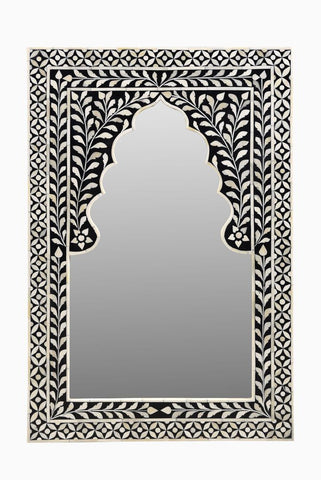 Yamini Bone Inlay Wall Mirror Black