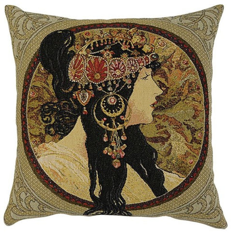 Mucha Byzantine Ladies Cushion Brunette