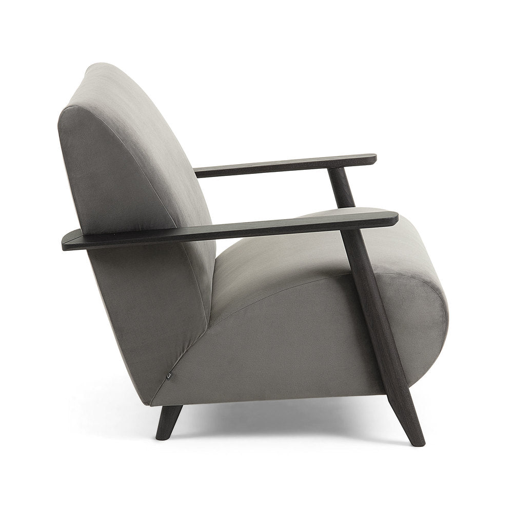 Nelson Velvet Arm Chair Grey