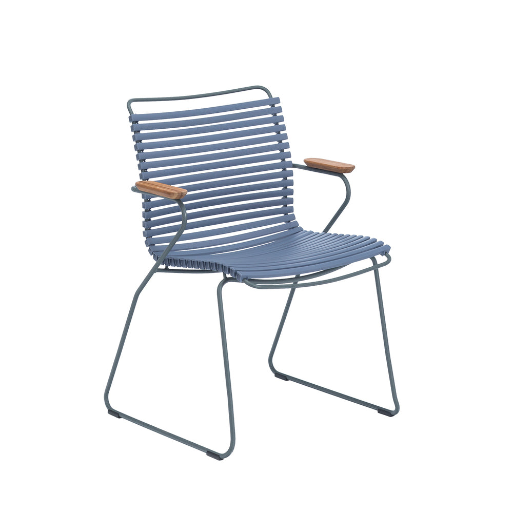 Click Armrest Outdoor Dining Chair Pigeon Blue