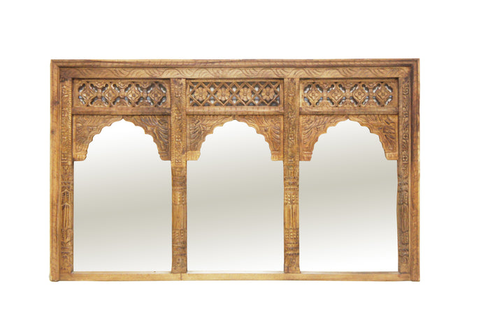 Vivaan 3 Window Wooden Mirror Natural