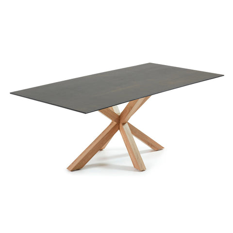 Masa Dining Table Black Legs with Iron Moss Ceramic Top