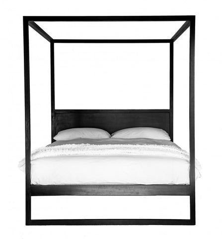 Strand 4 Poster Bed Black Oak Queen