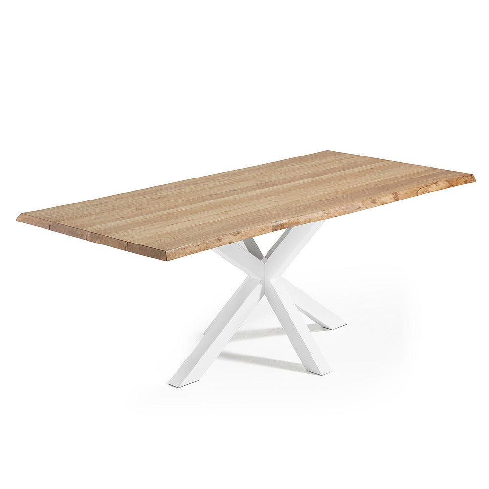 Masa Dining Table White Legs with Natural Oak Top