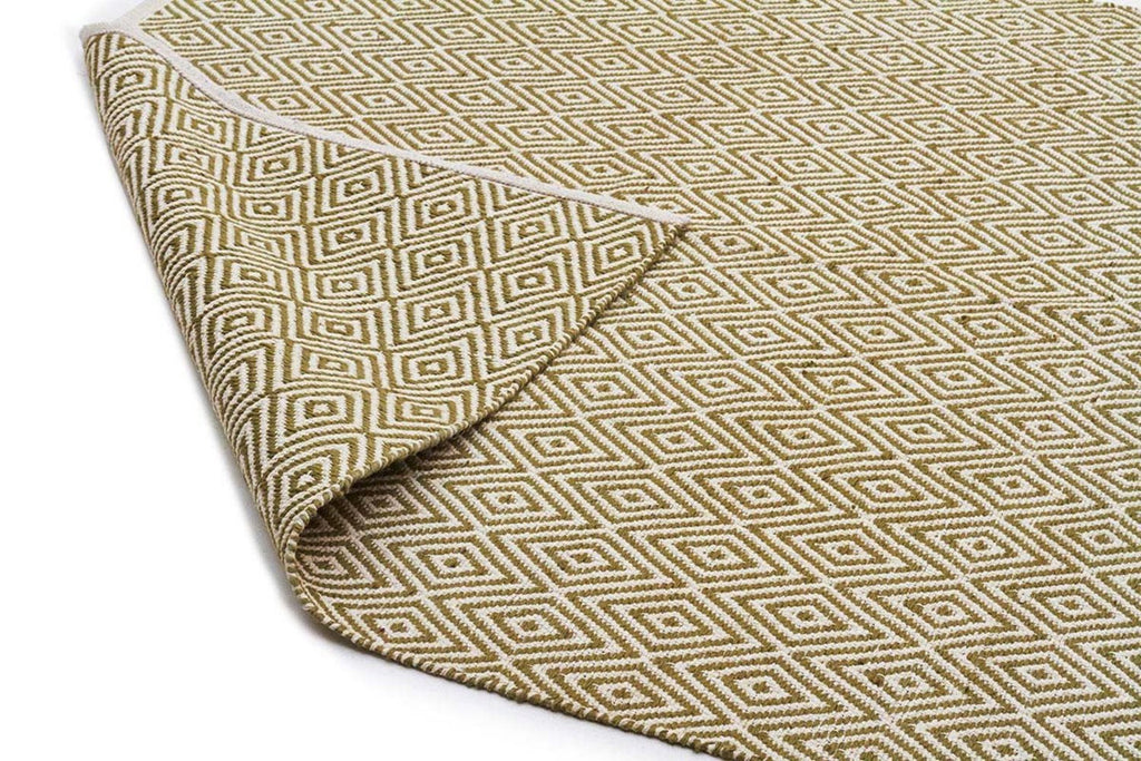 Modern Flatweave Diamond Design Green Rug