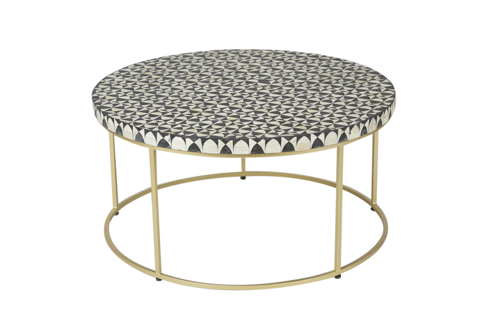 Zelda Round Bone Inlay Coffee Table Black and White