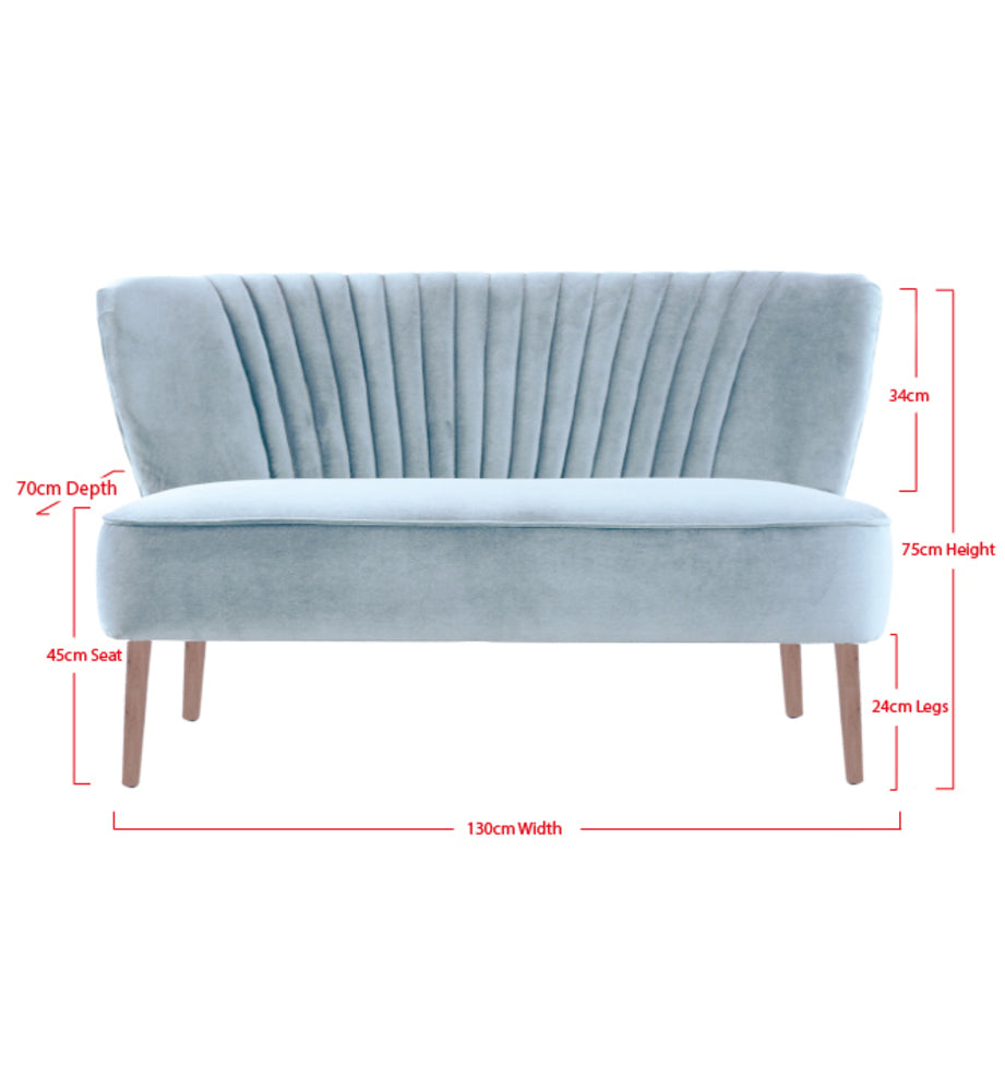 Coco Two Seater Sofa Blue Grey with Oak Legs